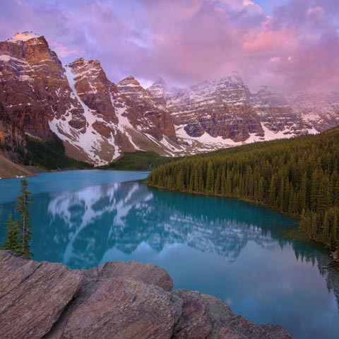 A famous landscape picture of Moraine Lake in Banff National Park taken on Canada Day.