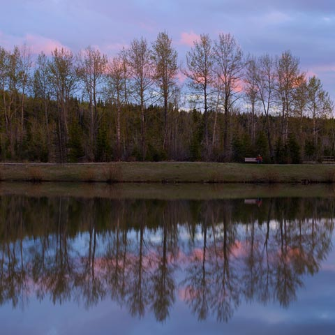 Allen Bill Pond before the flood at sunset with a man sitting on a bench.