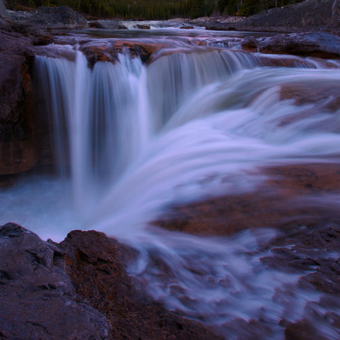Elbow falls are photographed often but this capture isn't your typical tourist snapshot.