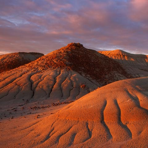 A red sunrise breaks over the Alberta badlands in dinosaur provincial park
