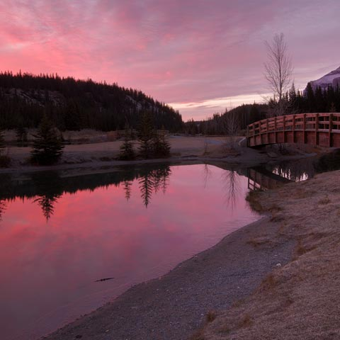 A photograph of Cascade Ponds in Banff National Park taken during a pink sunrise showing Rundle Mountain and some bridges in the background.