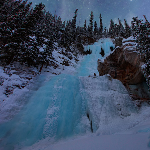These falls are at the end of the Lake Louise opposite the Fairmont Hotel.  They freeze in the winter and have a beautiful blue colour.