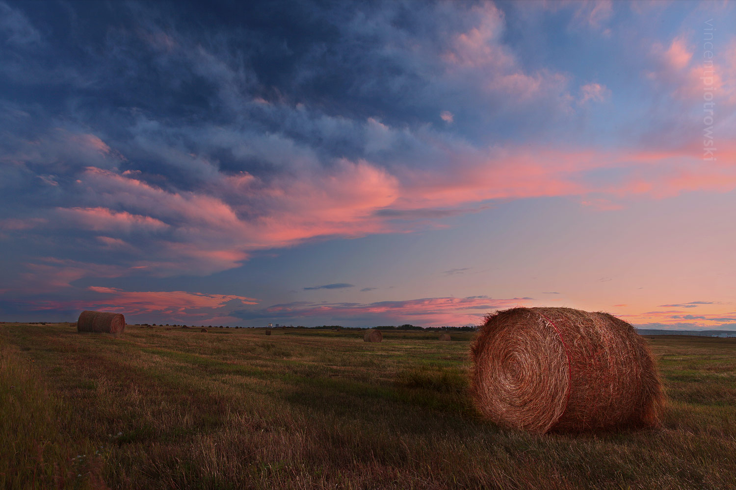 A photo of round bails of hay taken near Calgary Alberta shortly after a hail storm creating an amazing pink sky