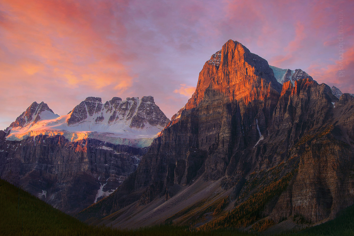 A picture of the Tower of Babel mountain from Banff National Park taken at sunrise.