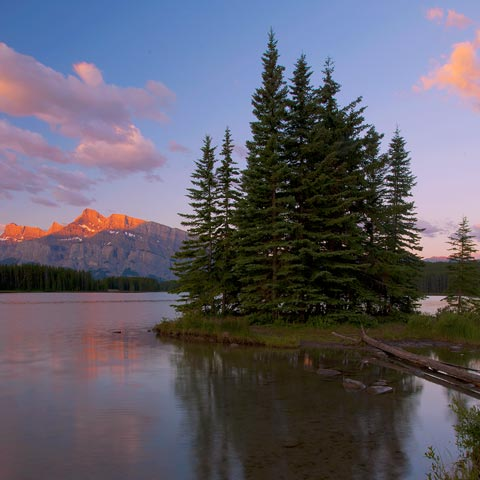 One of my favorite lakes to photograph around the town-site of Banff is Two Jack Lake.