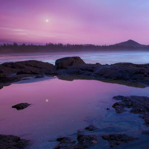 Moonrise over Cox Bay which is just outside Pacific Rim park on Vancouver Island British Columbia